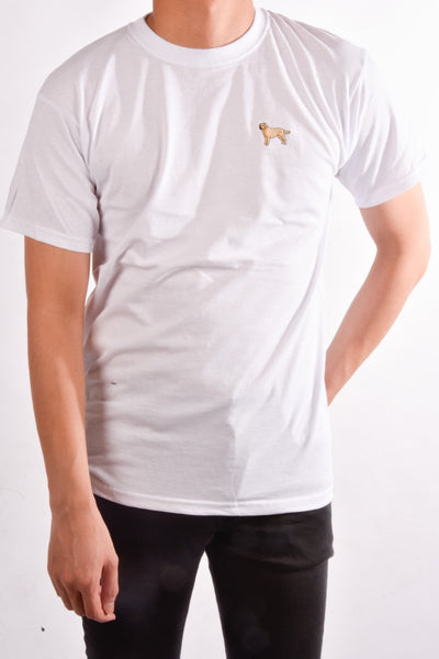 printed labrador logo on white t shirt