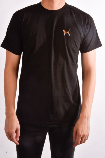 printed beagle logo on black t shirt