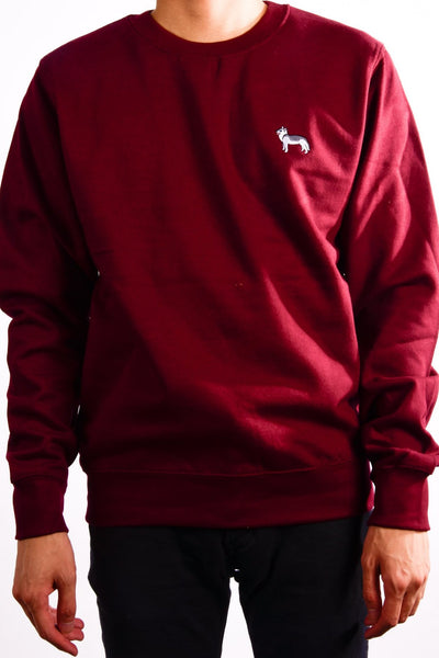 embroidered husky logo on burgundy jumper