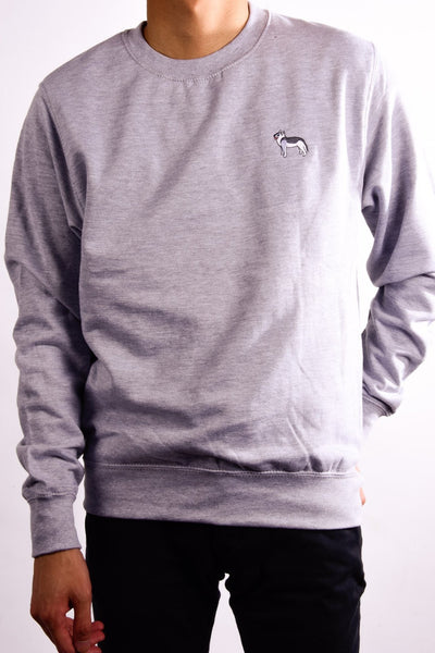 embroidered husky logo on heather grey jumper
