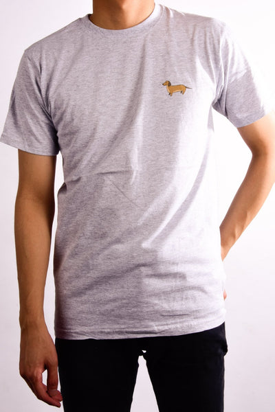 printed dachshund logo on heather grey t shirt