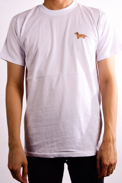 printed dachshund logo on white t shirt