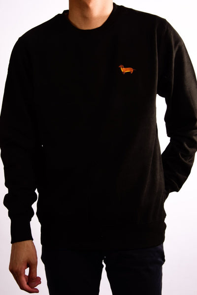 embroidered dachshund logo on black jumper