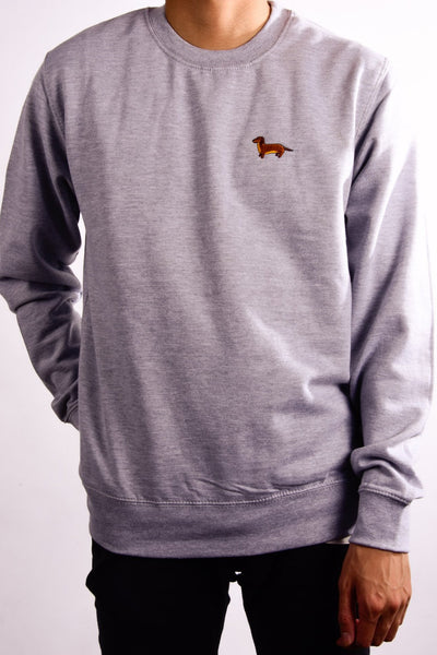 embroidered dachshund logo on heather grey jumper