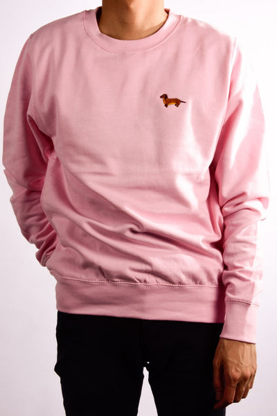 embroidered dachshund logo on baby pink jumper