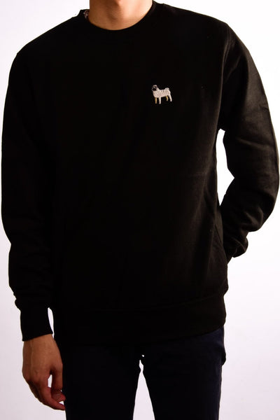 embroidered pug logo on black jumper