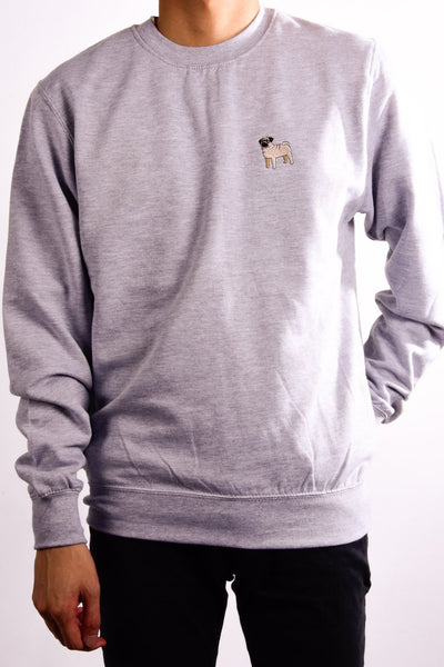 embroidered pug logo on heather grey jumper