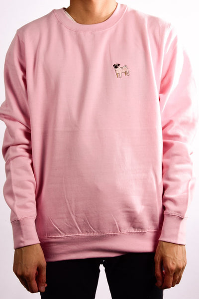 embroidered pug logo on baby pink jumper