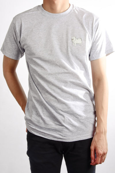 printed japanese spitz logo on heather grey t shirt