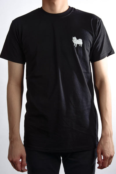 printed japanese spitz logo on black t shirt