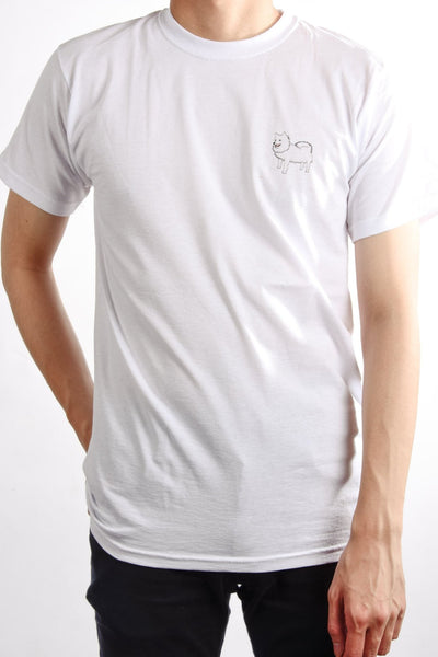 printed japanese spitz logo on white t shirt