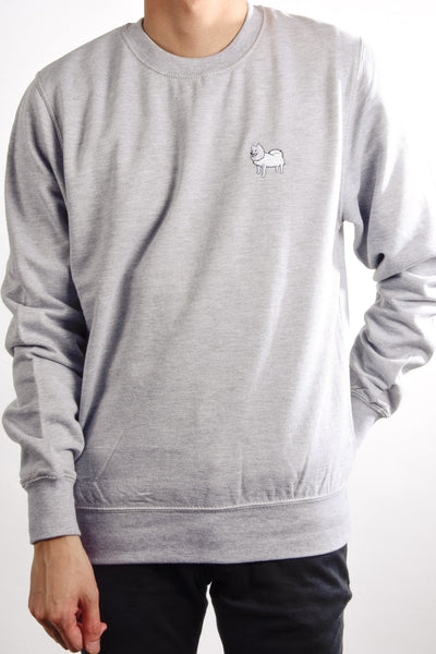 embroidered japanese spitz logo on heather grey jumper