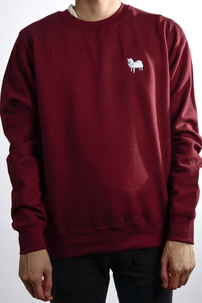 embroidered japanese spitz logo on burgundy jumper