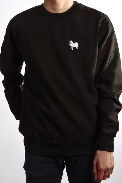 embroidered japanese spitz logo on black jumper