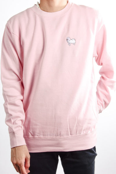 embroidered japanese spitz logo on baby pink jumper