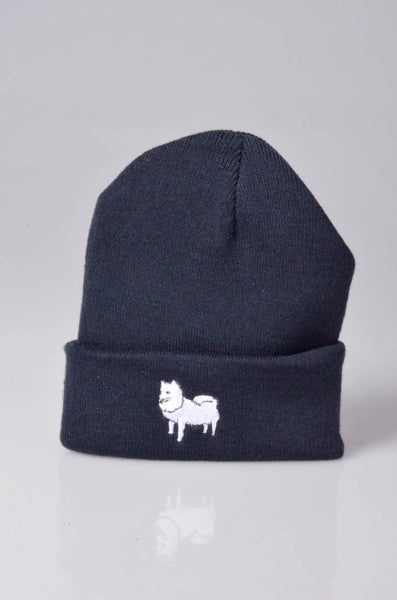 embroidered japanese spitz logo on navy beanie