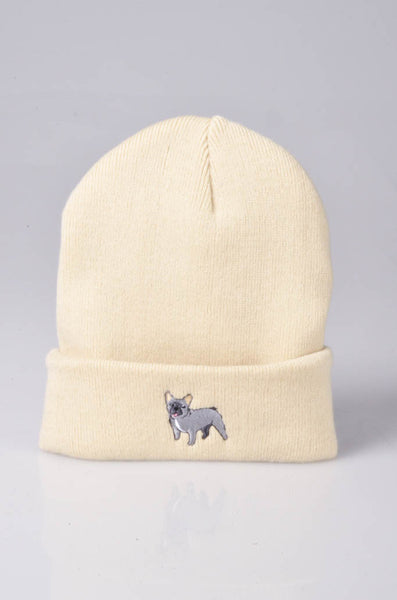 embroidered french bulldog logo on sand beanie