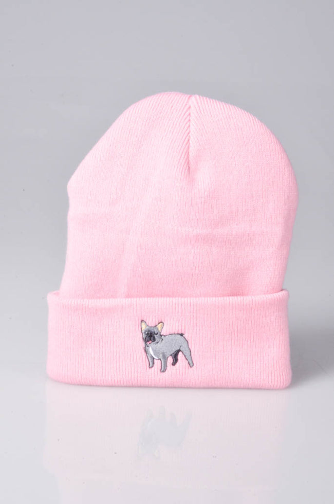 embroidered french bulldog logo on baby pink beanie