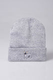 embroidered french bulldog logo on heather grey beanie