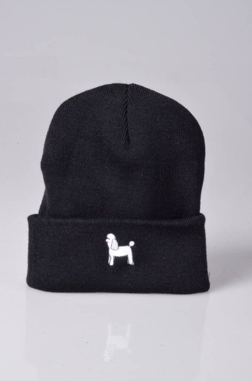 embroidered poodle logo on black beanie