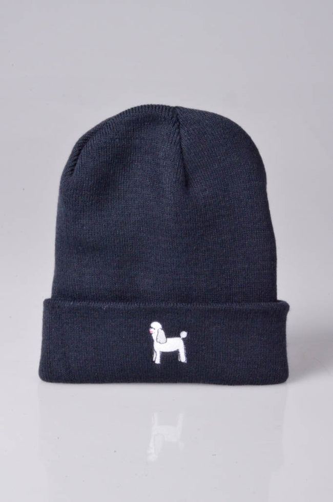 embroidered poodle logo on navy beanie