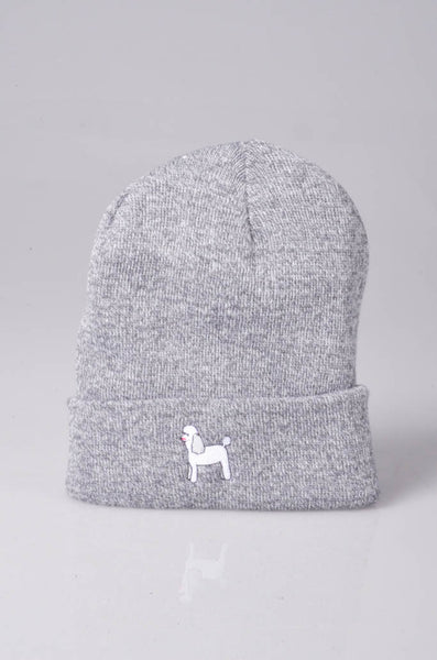 embroidered poodle logo on heather grey beanie