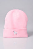 embroidered poodle logo on baby pink beanie