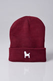 embroidered poodle logo on burgundy beanie