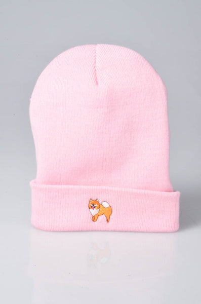 embroidered pomeranian logo on baby pink beanie