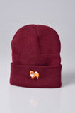embroidered pomeranian logo on burgundy beanie
