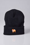 embroidered pomeranian logo on black beanie