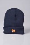 embroidered pomeranian logo on navy beanie