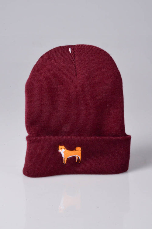 embroidered shiba inu logo on burgundy beanie