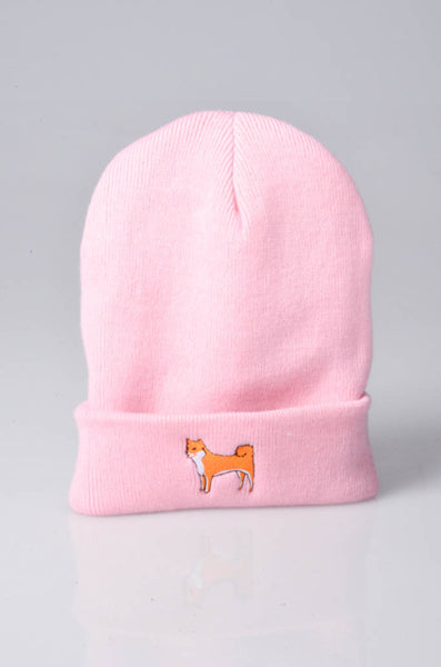 embroidered shiba inu logo on baby pink beanie