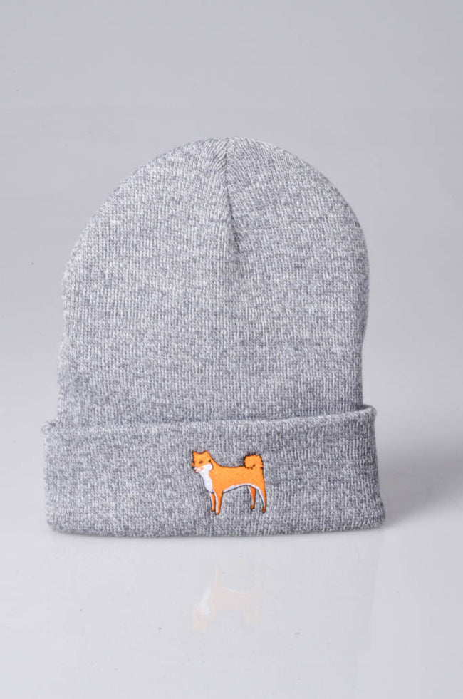 embroidered shiba inu logo on heather grey beanie