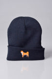 embroidered shiba inu logo on navy beanie