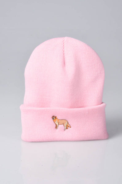 embroidered golden retriever logo on baby pink beanie