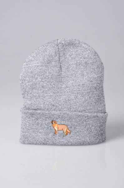 embroidered golden retriever logo on heather grey beanie