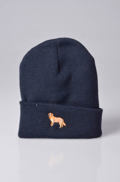 embroidered golden retriever logo on navy beanie