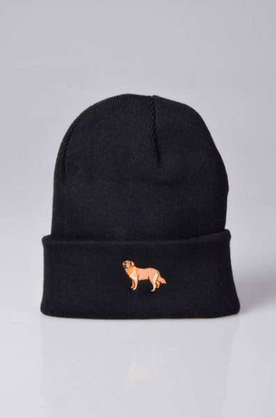 embroidered golden retriever logo on black beanie