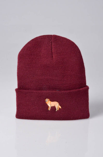 embroidered golden retriever logo on burgundy beanie