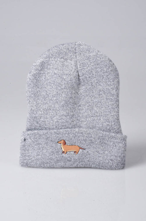 embroidered dachshund logo on heather grey beanie