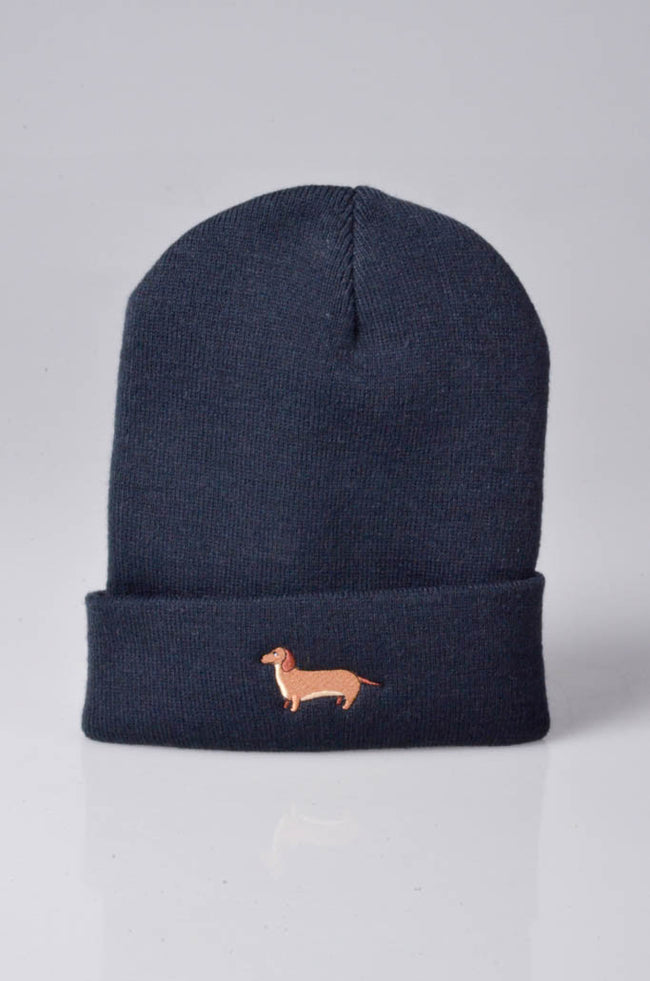 embroidered dachshund logo on navy beanie