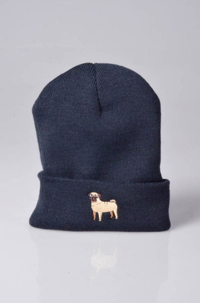 embroidered pug logo on navy beanie