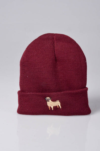 embroidered pug logo on burgundy beanie