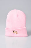 embroidered pug logo on baby pink beanie