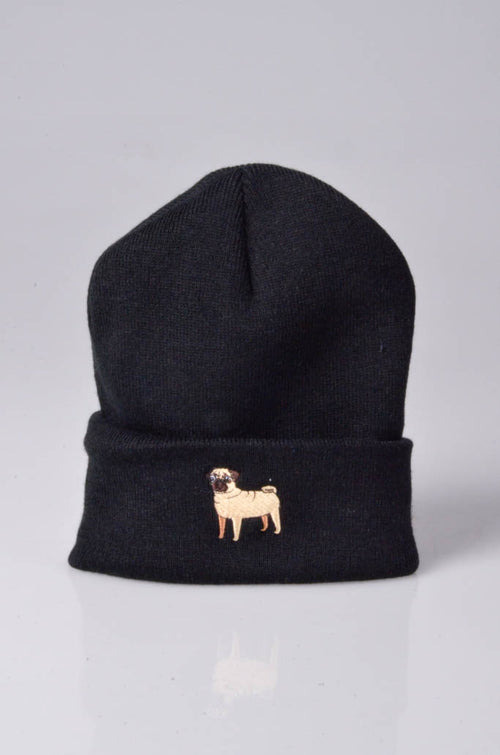 embroidered pug logo on black beanie