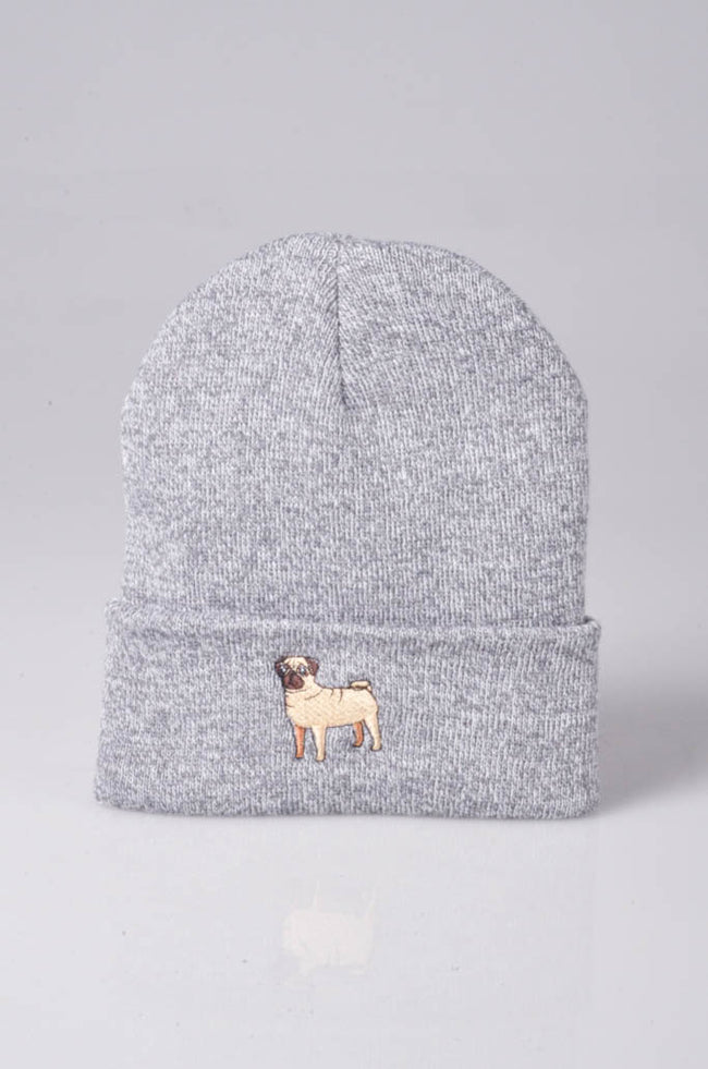 embroidered pug logo on heather grey beanie