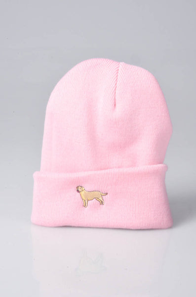 embroidered labrador logo on baby pink beanie