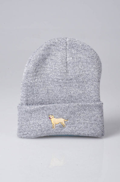 embroidered labrador logo on heather grey beanie